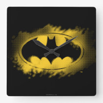Batman Symbol | Black and Yellow Logo Square Wall Clock
