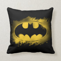 Batman Symbol | Black and Yellow Logo Throw Pillow