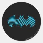 Batman Symbol | Blue Striped Logo Classic Round Sticker