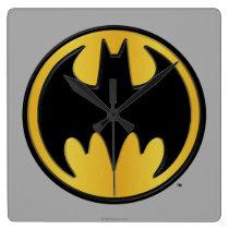 Batman Symbol   Classic Round Logo Square Wall Clock