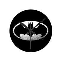 Batman Symbol   Grainy Logo Round Clock