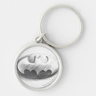 Batman Symbol | Insignia Drawing Logo Silver-Colored Round Keychain