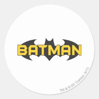 Batman Symbol | Name Yellow & Black Logo Classic Round Sticker
