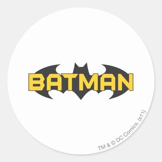 Batman Symbol Name Yellow Black Logo Classic Round Sticker