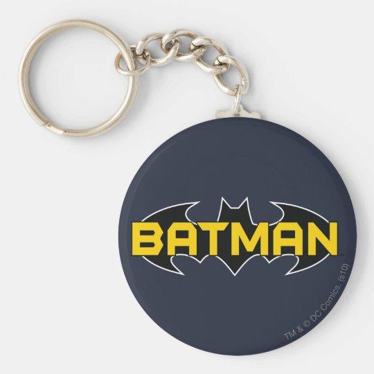 Batman Symbol   Name Yellow & Black Logo Keychain