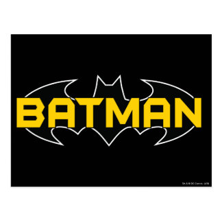 Batman Symbol | Name Yellow & Black Logo Postcard