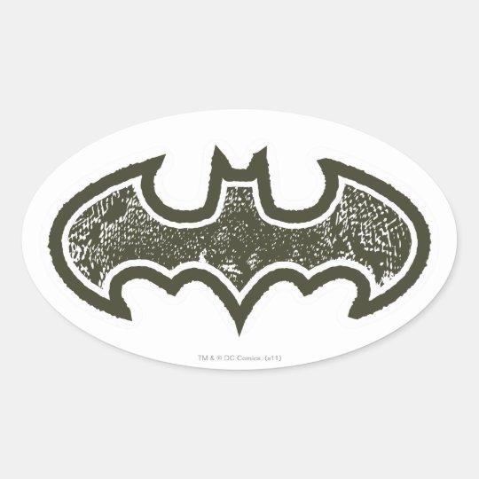 Batman Symbol   Nouveau Logo Oval Sticker