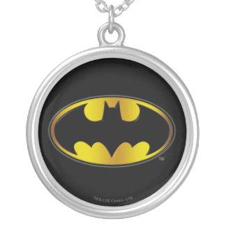 Batman Symbol   Oval Gradient Logo Silver Plated Necklace
