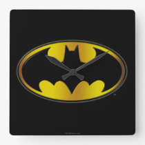 Batman Symbol   Oval Gradient Logo Square Wall Clock