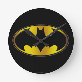 Batman Symbol | Oval Logo Gradient Round Wall Clock