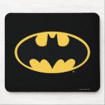 "Batman Symbol | Oval Logo Mouse Pad<br><div class=""desc"">Batman Urban Legends Style Bat Logo | The classic Batman icon in black and a deep yellow.</div>"