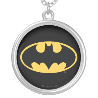 Batman Symbol   Oval Logo Silver Plated Necklace