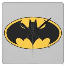 Batman Symbol   Oval Logo Square Wall Clock