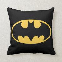 Batman Symbol   Oval Logo Throw Pillow