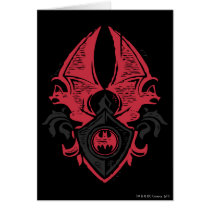 Batman Symbol | Red Black Bat Stamp Crest Logo Card