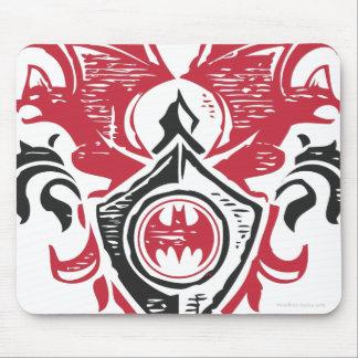 Batman Symbol | Red Black Bat Stamp Crest Logo Mouse Pad