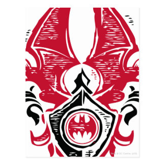 Batman Symbol | Red Black Bat Stamp Crest Logo Postcard