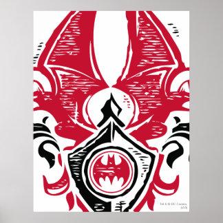 Batman Symbol   Red Black Bat Stamp Crest Logo Poster