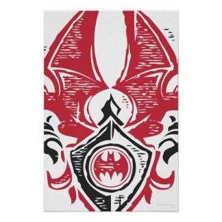 Batman Symbol | Red Black Bat Stamp Crest Logo Poster