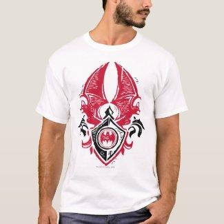 Batman Symbol | Red Black Bat Stamp Crest Logo T-Shirt
