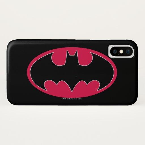 Batman Symbol | Red Black Logo iPhone X Case