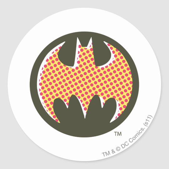 Batman Symbol | Red Halftone Logo Classic Round Sticker