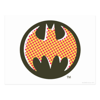 Batman Symbol   Red Halftone Logo Postcard