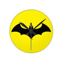 Batman Symbol   Simple Bat Silhouette Logo Round Clock