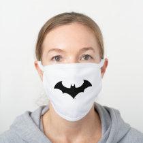 Batman Symbol | Simple Bat Silhouette Logo White Cotton Face Mask