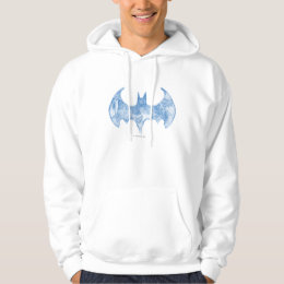 Batman Symbol   Sketchbook Light Blue Logo Hoodie