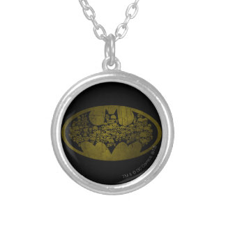 Batman Symbol | Skulls in Bat Logo Silver Plated Necklace