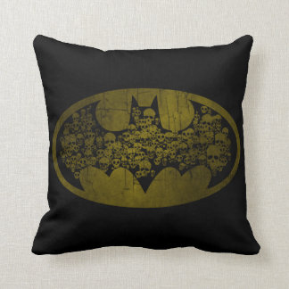 Batman Symbol | Skulls in Bat Logo Throw Pillow