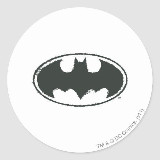 Batman Symbol | Spray Black White Logo Classic Round Sticker
