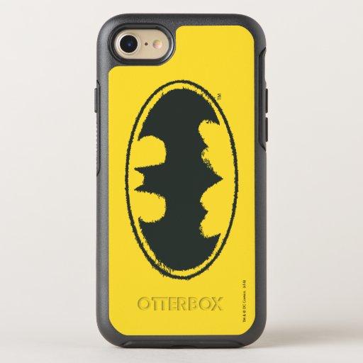 Batman Symbol | Spray Black White Logo OtterBox Symmetry iPhone SE/8/7 Case