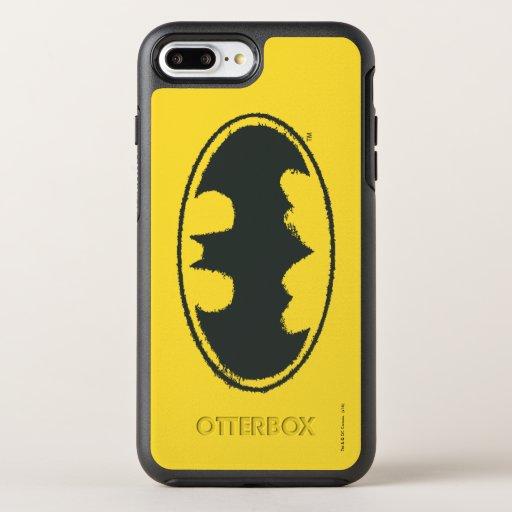 Batman Symbol | Spray Black White Logo OtterBox Symmetry iPhone 8 Plus/7 Plus Case