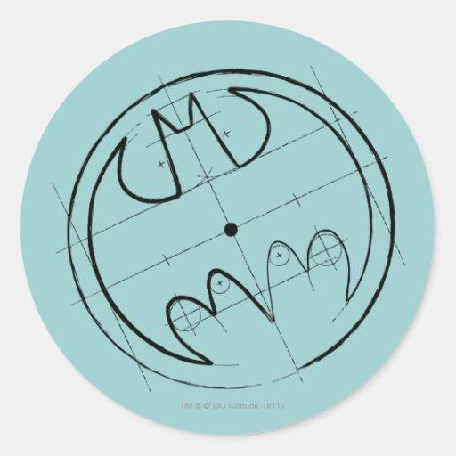 Batman Symbol | Technical Sketch Logo Classic Round Sticker