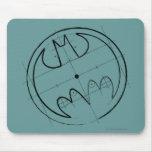 Batman Symbol | Technical Sketch Logo Mouse Pad
