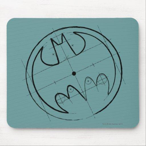 Batman Technical Sketch Logo Mousepads