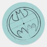 Batman Technical Sketch Logo Round Sticker