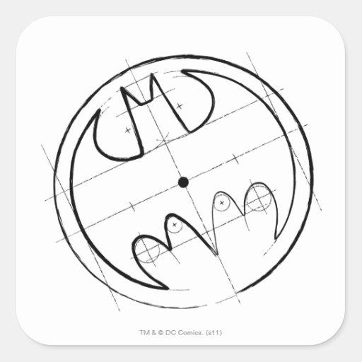 Batman Technical Sketch Logo Stickers