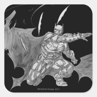 Batman Throwing Batarangs Drawing Square Sticker