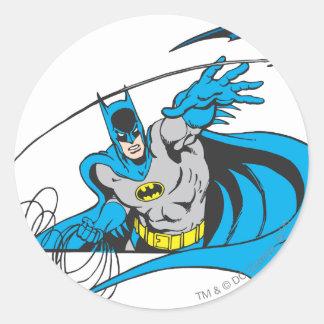 Batman Throws Batarang 3 Round Stickers