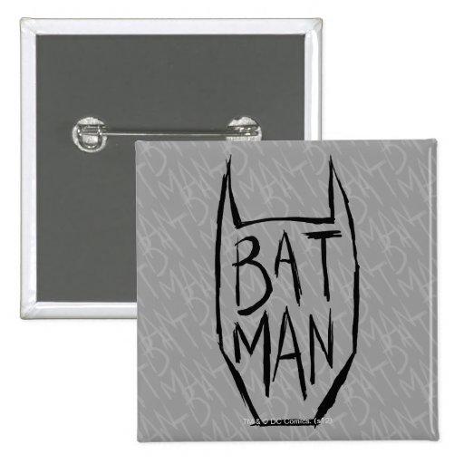 Batman Type in Head Pinback Buttons