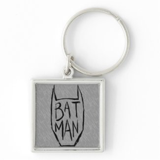 Batman Type in Head Silver-Colored Square Keychain
