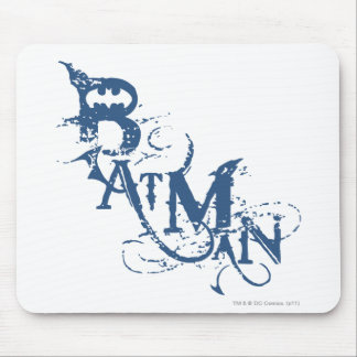 Batman | Urban Curved Blue Name Logo Mouse Pad