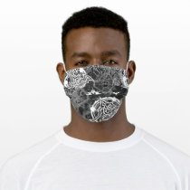 Batman Urban Legends - Bat Stamp Pattern BW Adult Cloth Face Mask