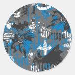 Batman Urban Legends - Caped Crusader Pattern Blue Classic Round Sticker