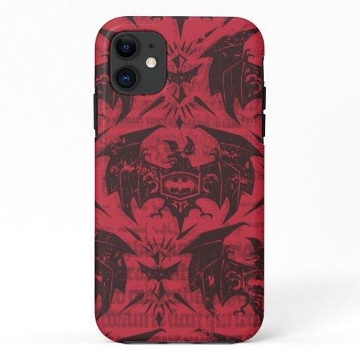 Batman Urban Legends - Goth Bat Pattern Red/Black iPhone 11 Case