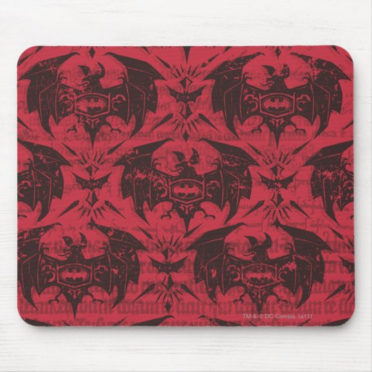 Batman Urban Legends - Goth Bat Pattern Red/Black Mouse Pad