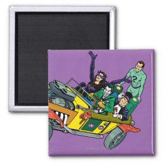 Batman Villains In Jokermobile 2 Inch Square Magnet